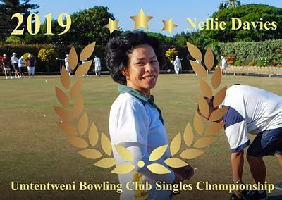 2019/2020 Umtentweni Bowling Club Singles Championship Ladies's Winner - Nellie Davies